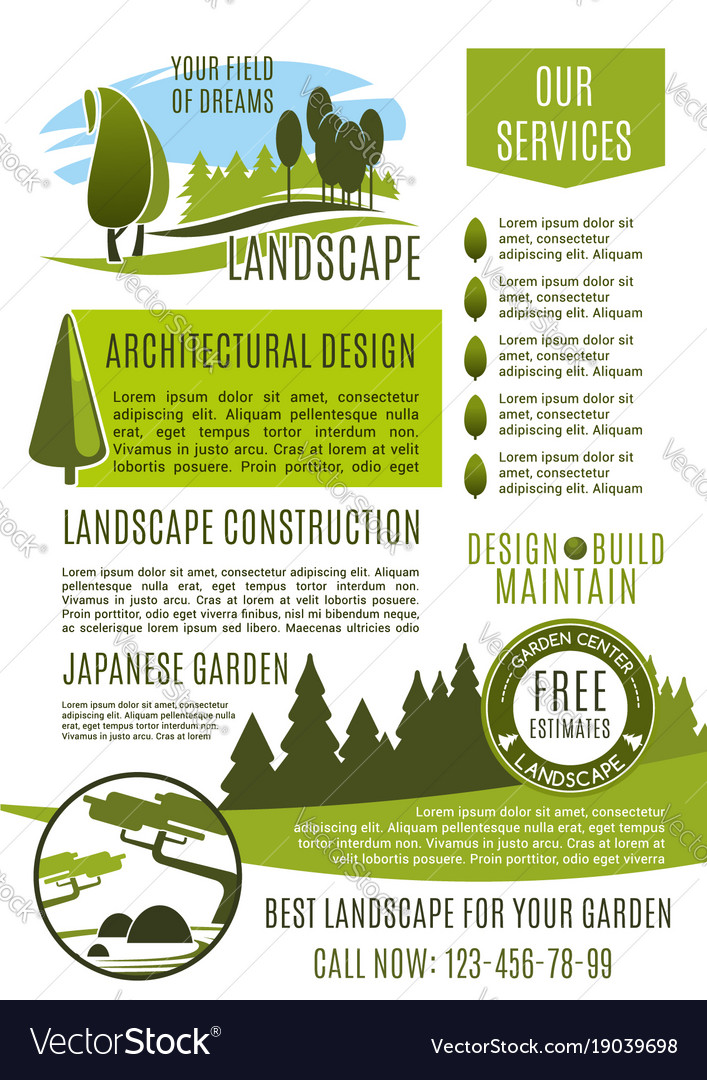 Landscape design company business banner template Vector Image