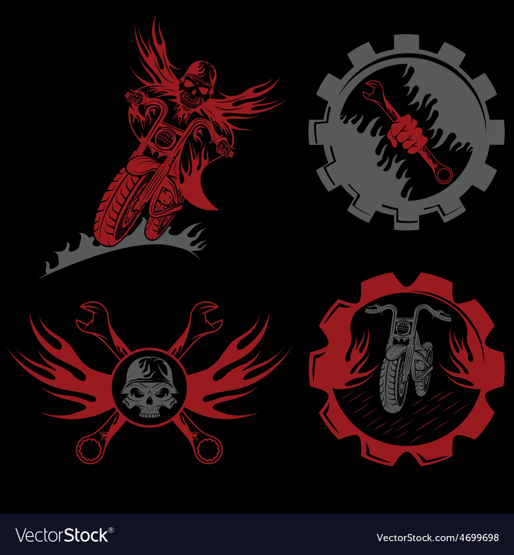 Set of bikers theme emblems with skullflames and