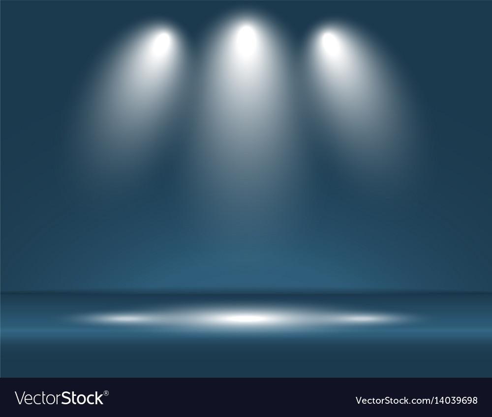 Spotlight blue light rays room studio background vector image