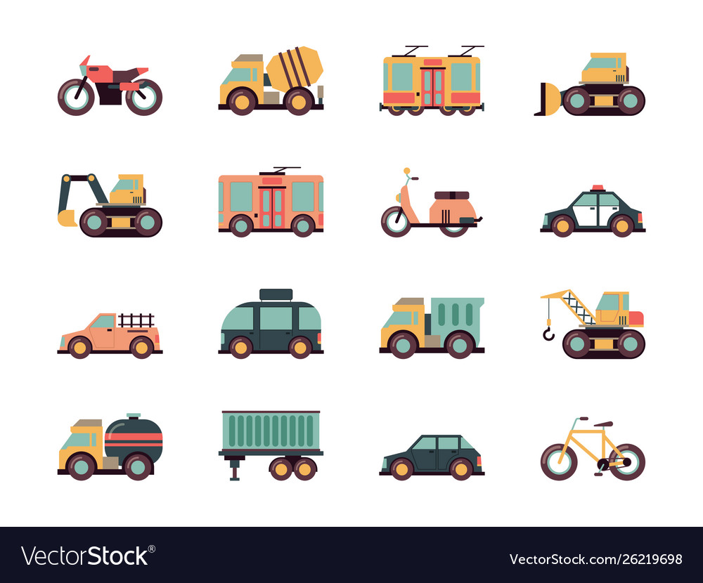 Transport flat icons urban vehicles cars buses