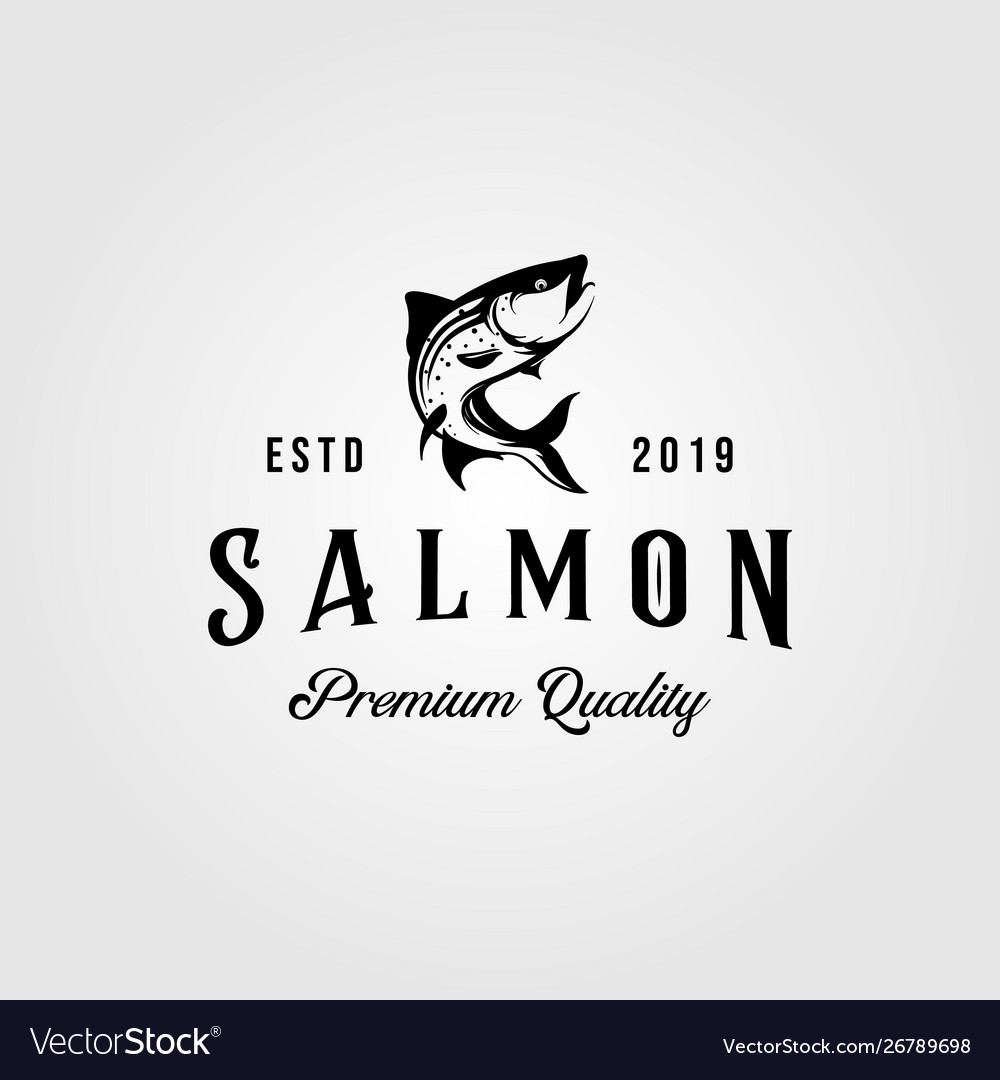 Vintage salmon fish logo retro seafood label