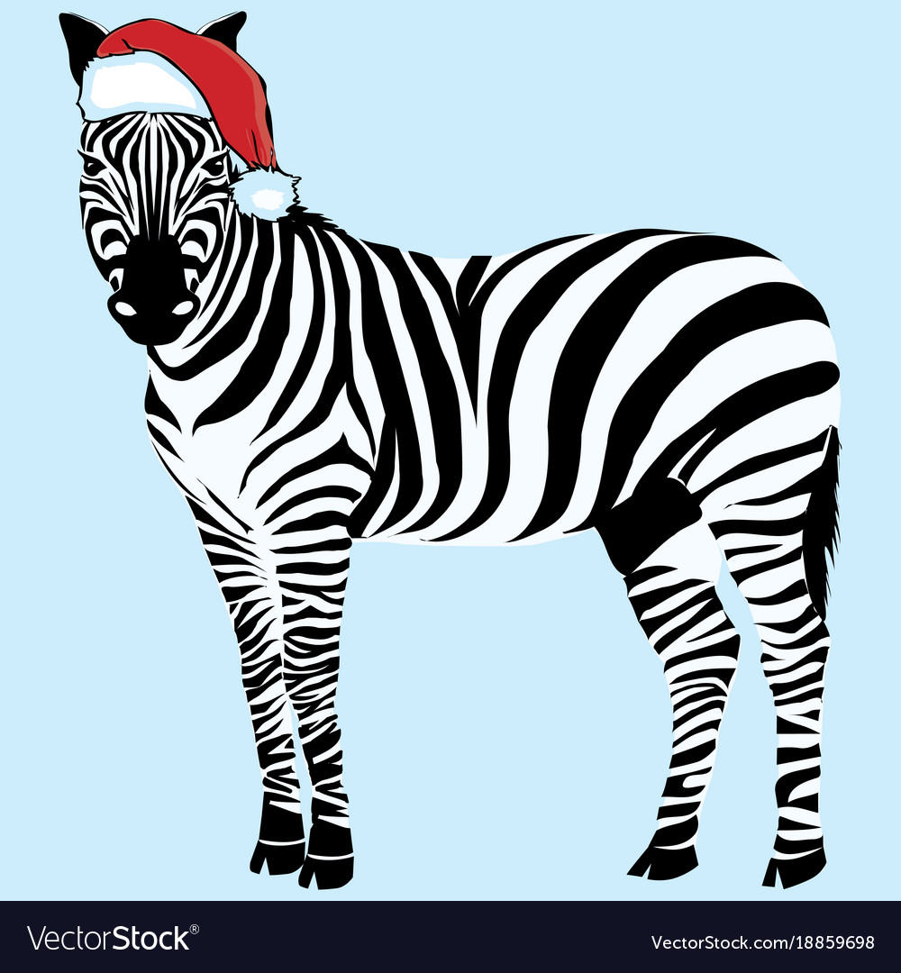 c736b35a58170 Zebra hat - christmas design zoo Royalty Free Vector Image