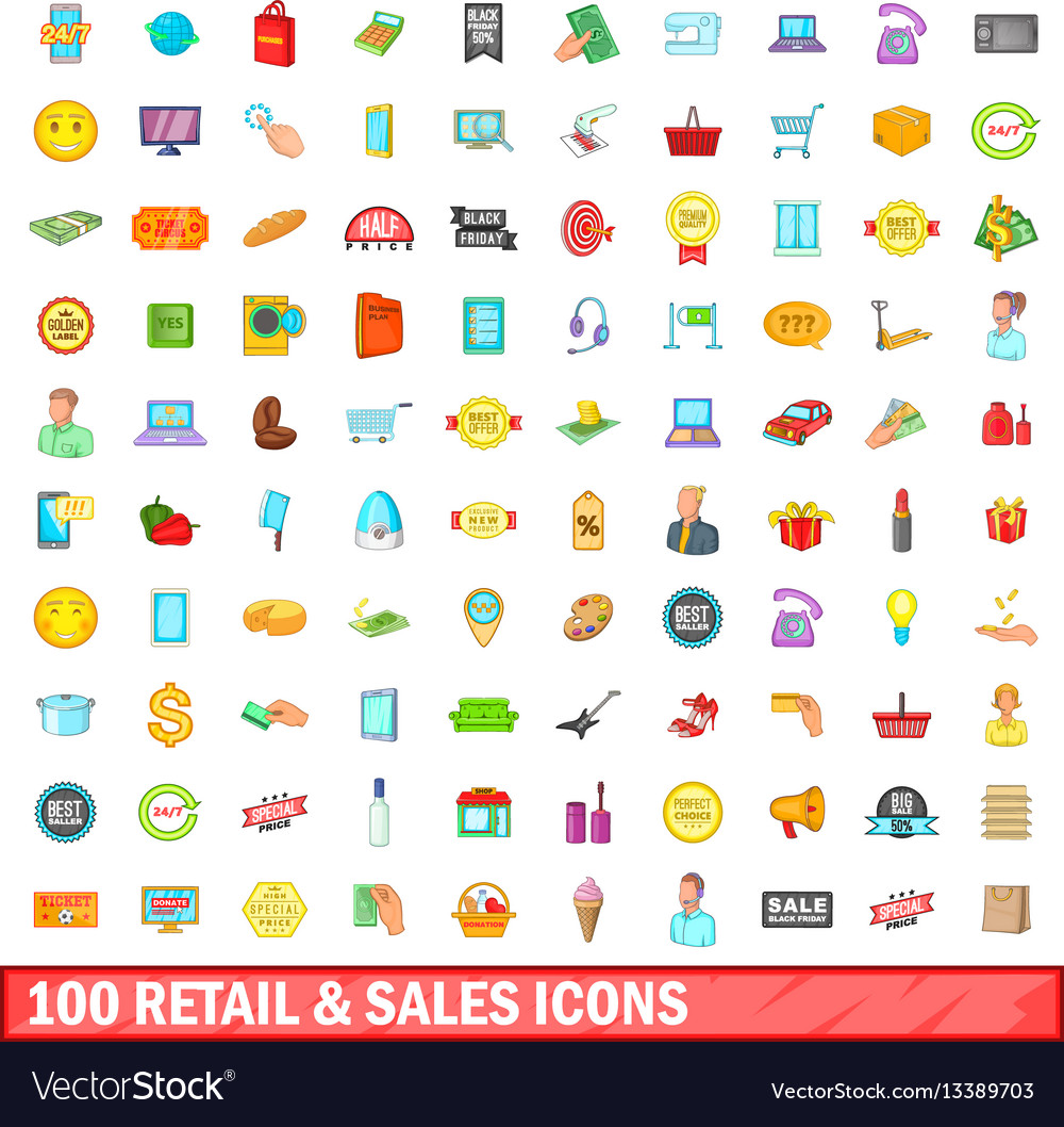 100 retail and sales icons set cartoon style vector image