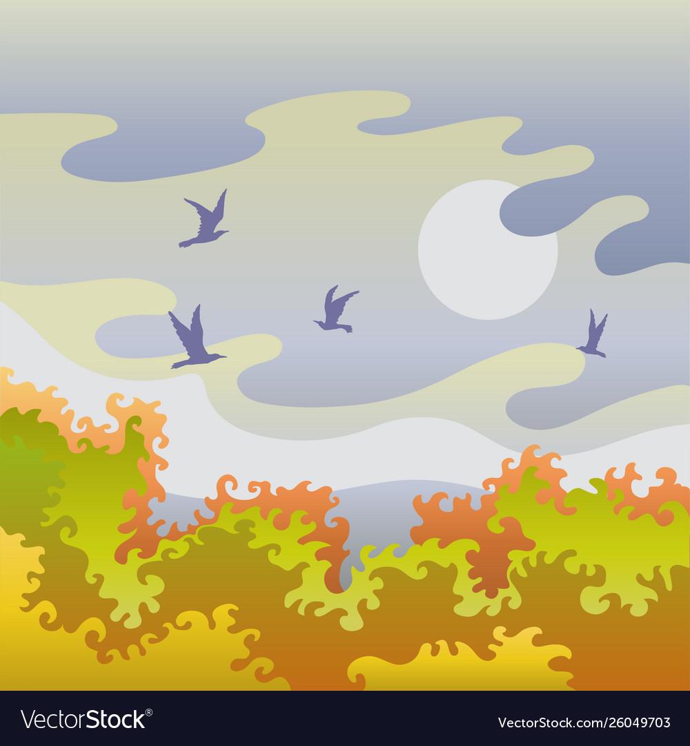 Autumn landscape with birds