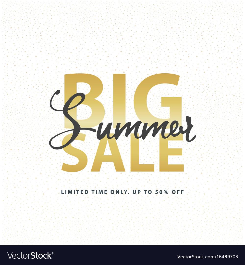 Big summer sale gold sign in white golden glitter