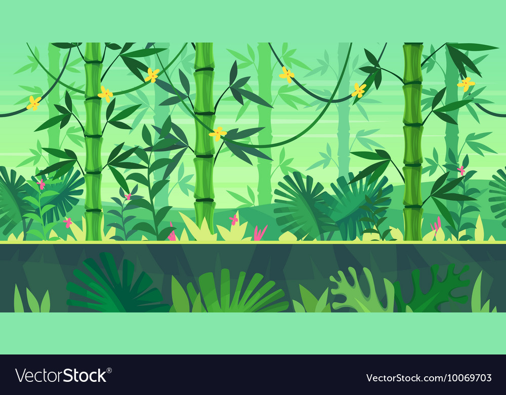 Cartoon nature seamless landscape with jungle