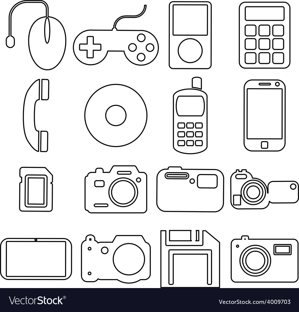 Collection flat icons with long shadow Multimedia