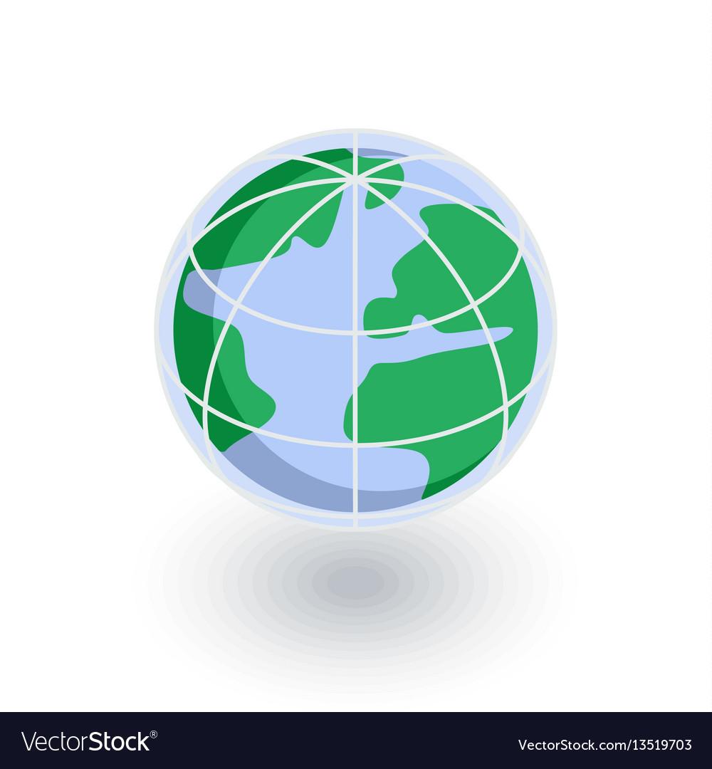 Earth globe isometric flat icon 3d vector image