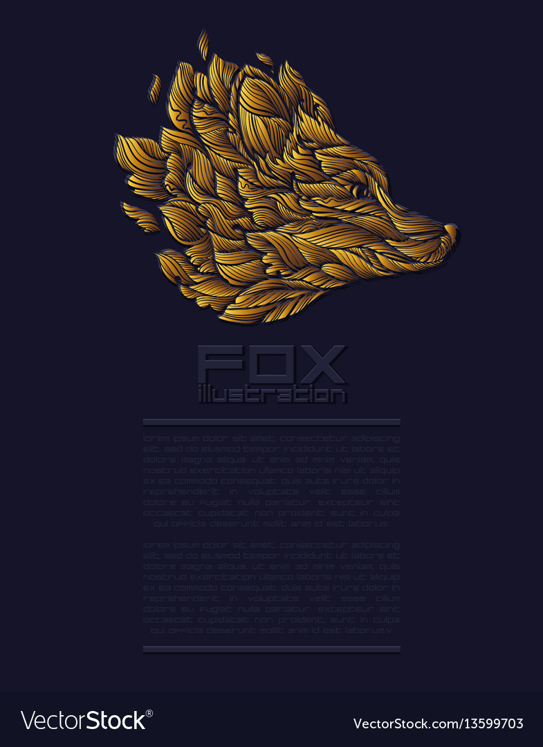 Fox or wolf design icon logo luxury gold
