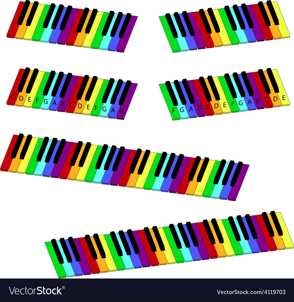 Isometric colorful piano keyboard set