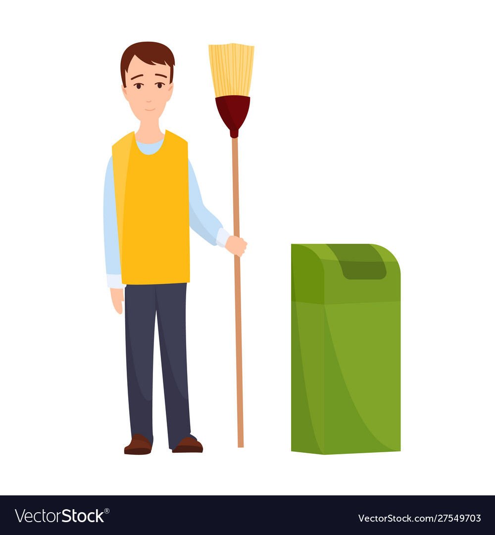 Male janitor in uniform mopping floor man cleaner