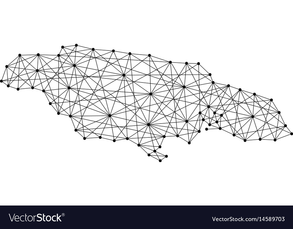 Map of jamaica from polygonal black lines and dots vector image
