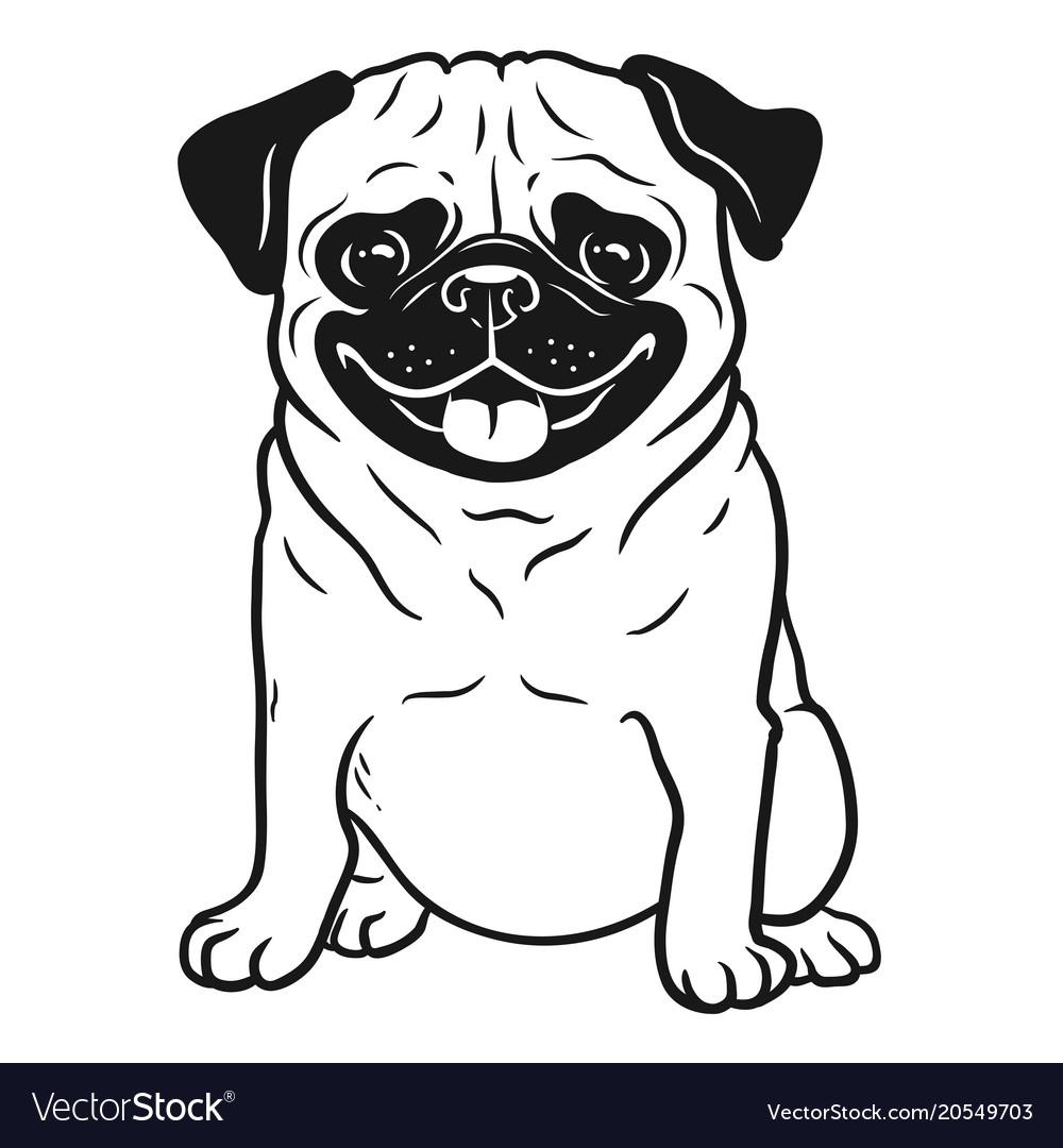 Pug dog black and white hand drawn cartoon