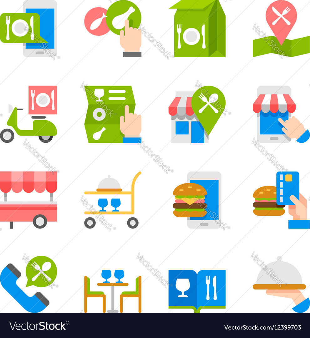 Restaurant food ordering on line icons