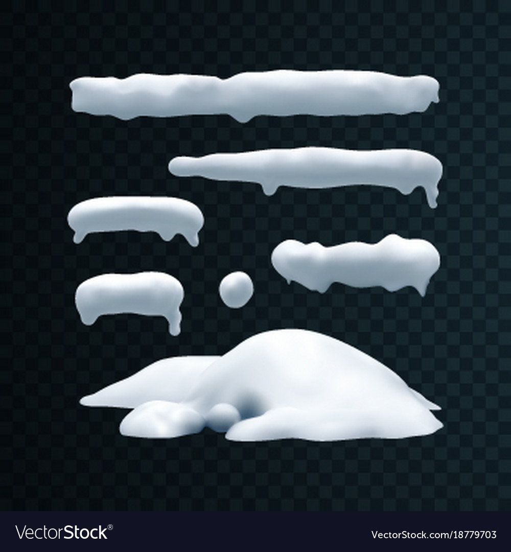 Set of snow caps snowball and snowdrift