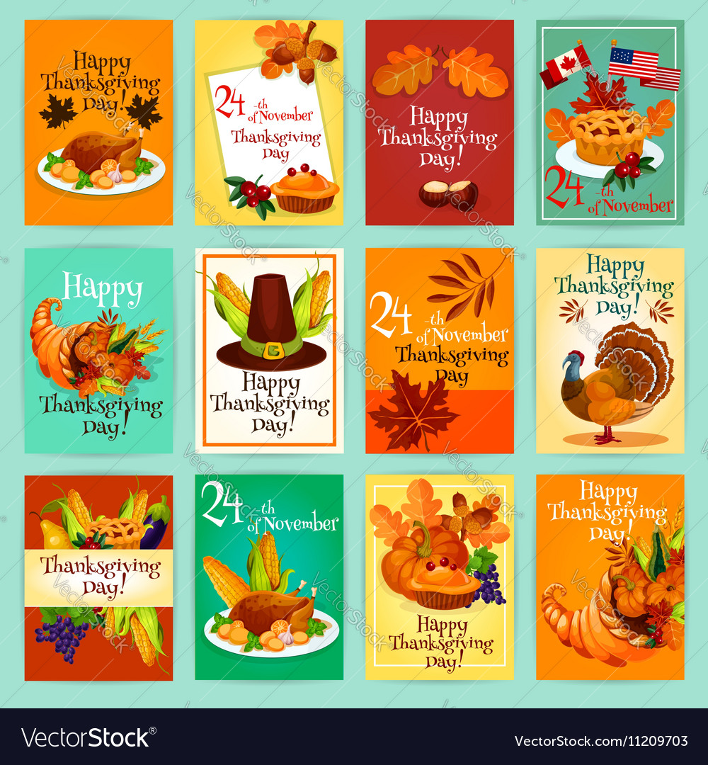 Thanksgiving Day greeting cards posters set