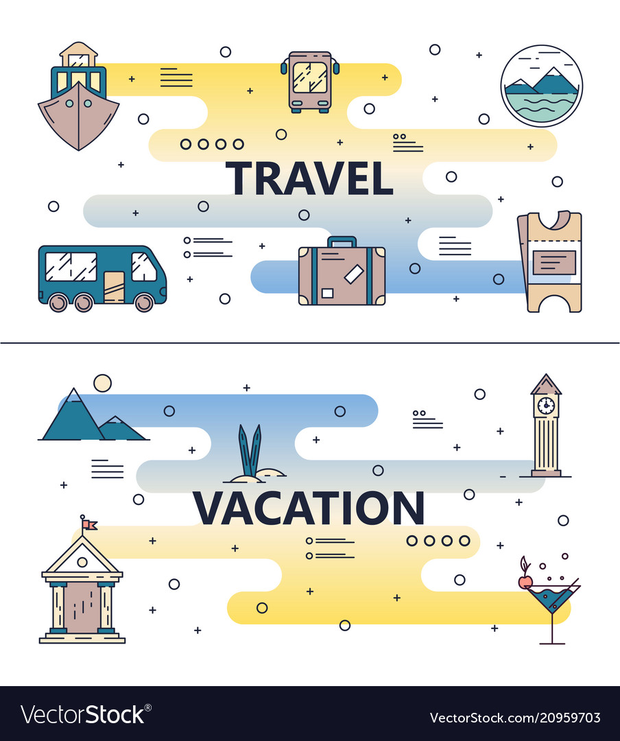 Thin line travel poster banner template set