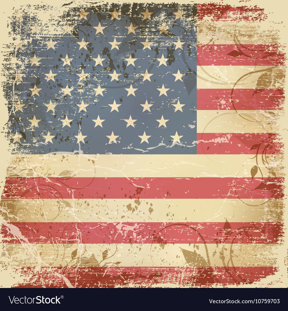 vintage card with american flag royalty free vector image