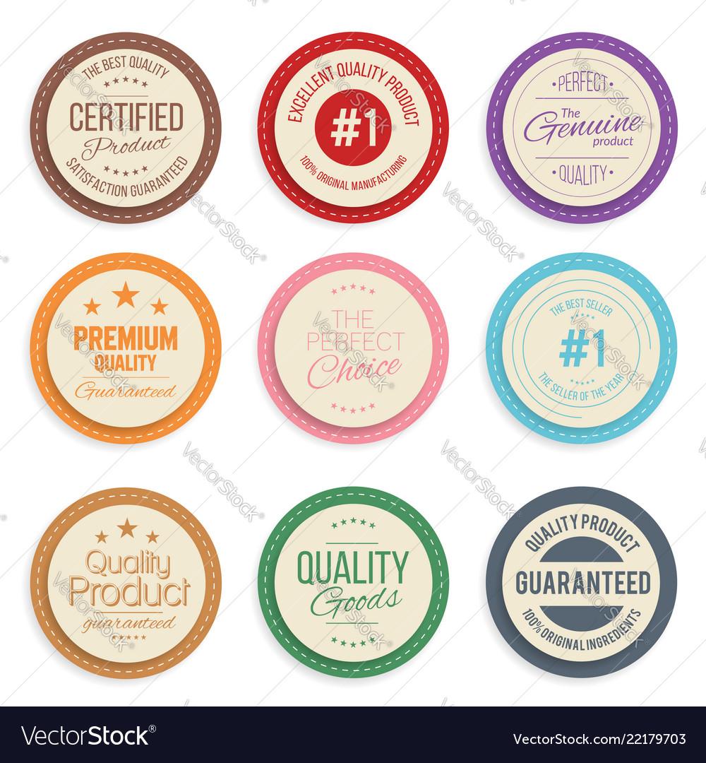 Warranty label set colorful modern quality marks