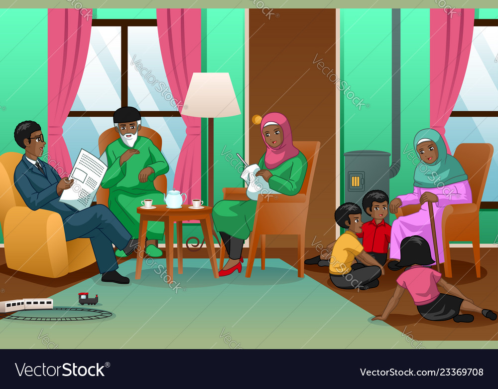 African muslim family at home