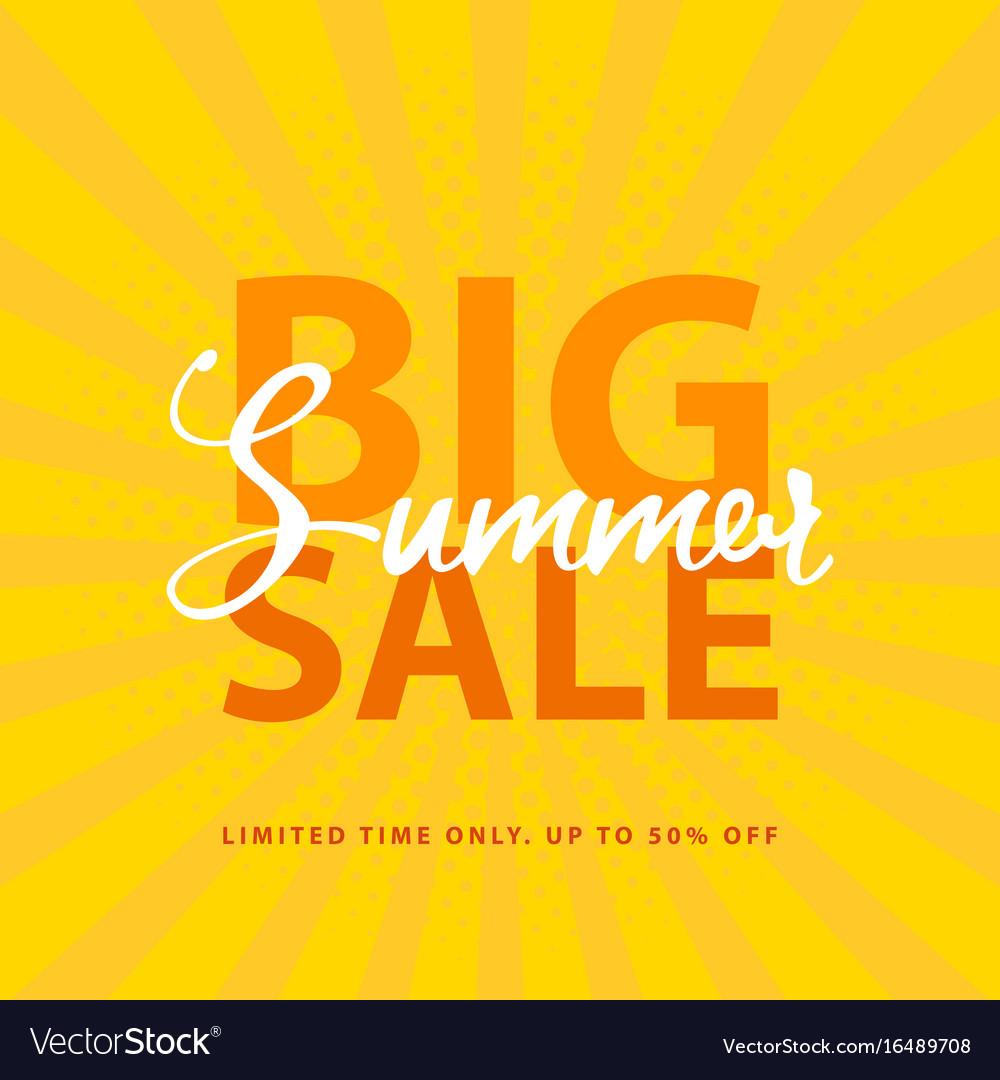 big summer sale sign with retro pop art halftone vector image