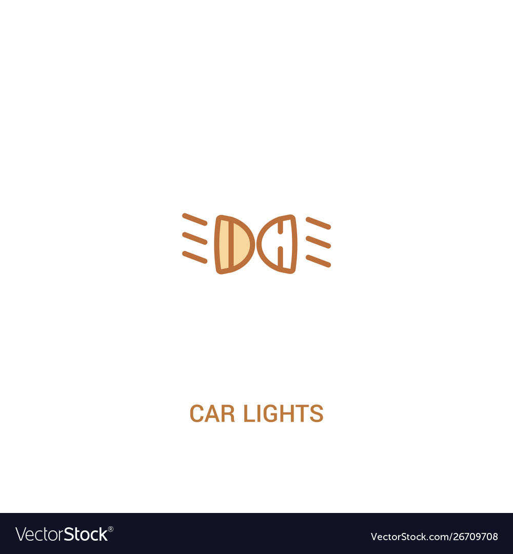 Car lights concept 2 colored icon simple line