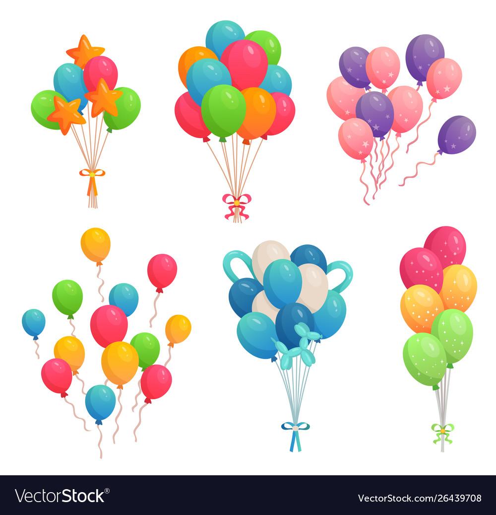 Cartoon birthday balloons colorful air balloon