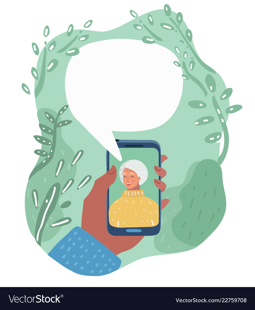 Cartoon granny talking on phone