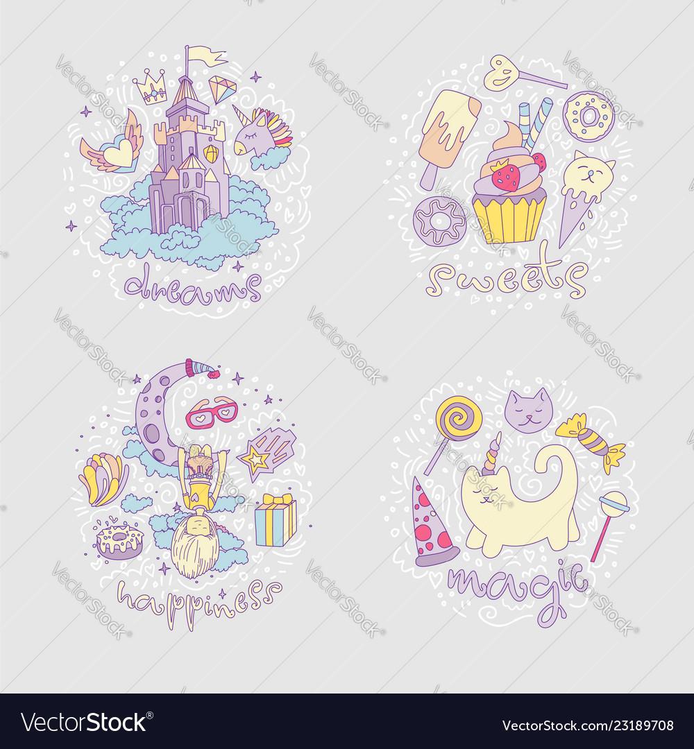 Colored set of teenage girl icons cute cartoon
