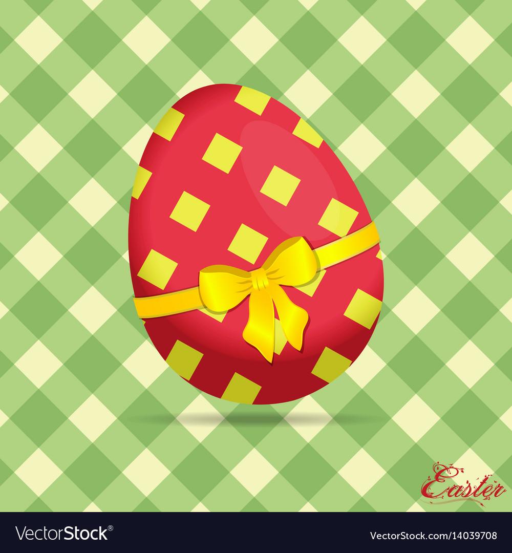 Crossed stripes easter egg on green background