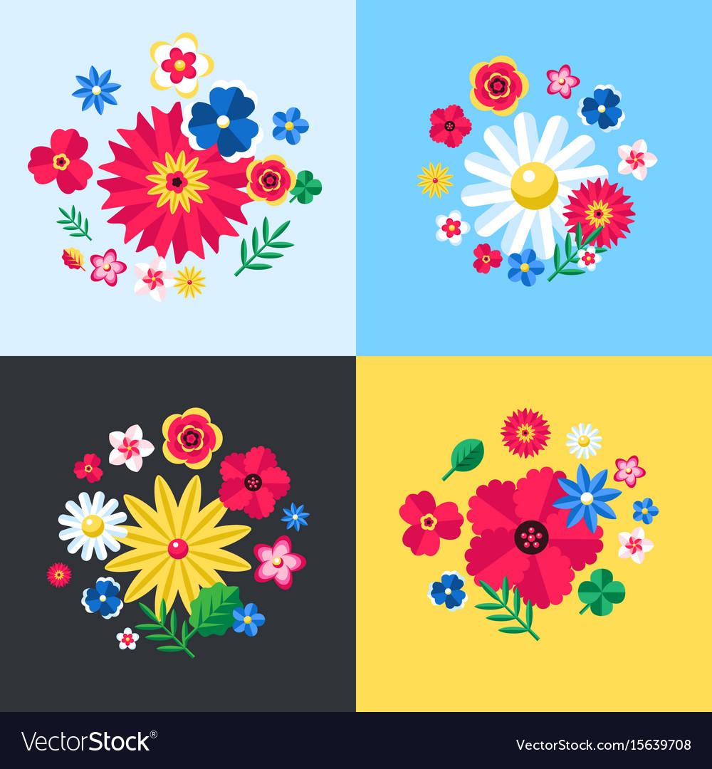 Digital blue flowers set