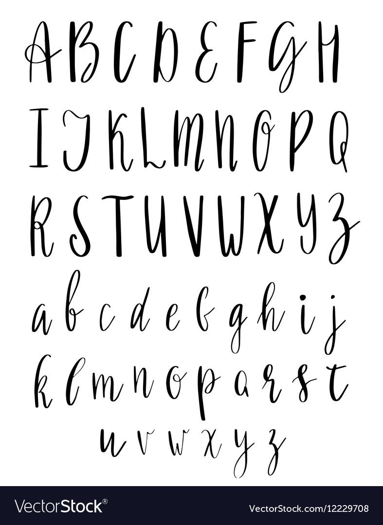 English Alphabet Handwritten Script Hand