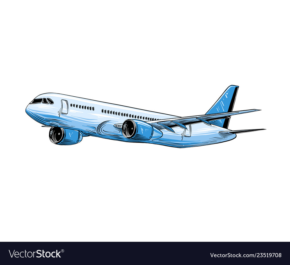 - Hand Drawn Sketch Of Aircraft In Blue Color Vector Image