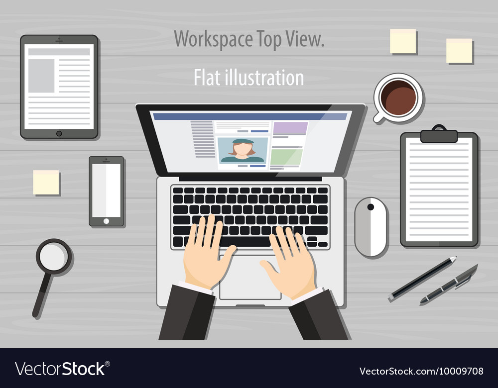Hands typing text on the laptop keyboard and using vector image