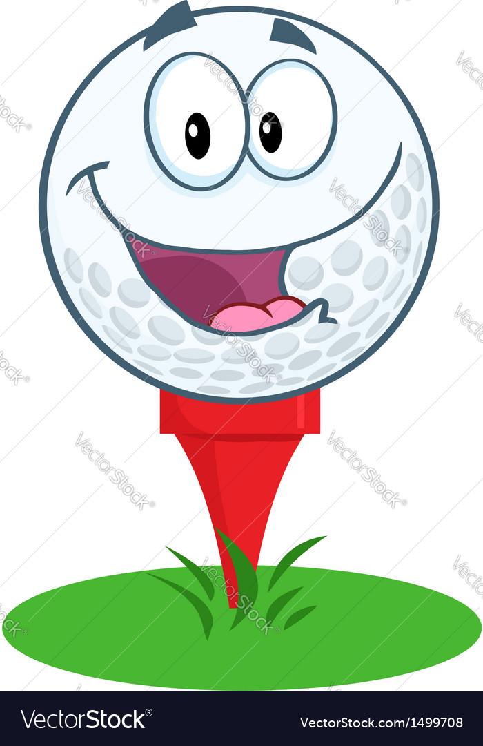 Happy Golf Ball Cartoon Character Over Tee