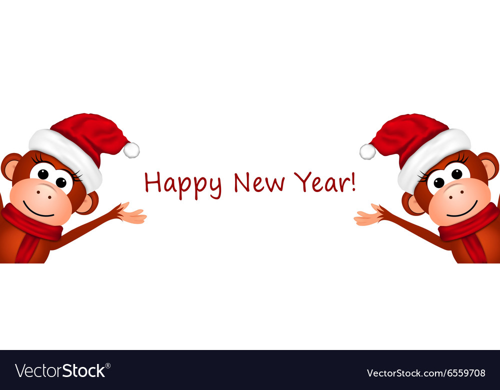 Happy New Year Postcard with monkeys vector image