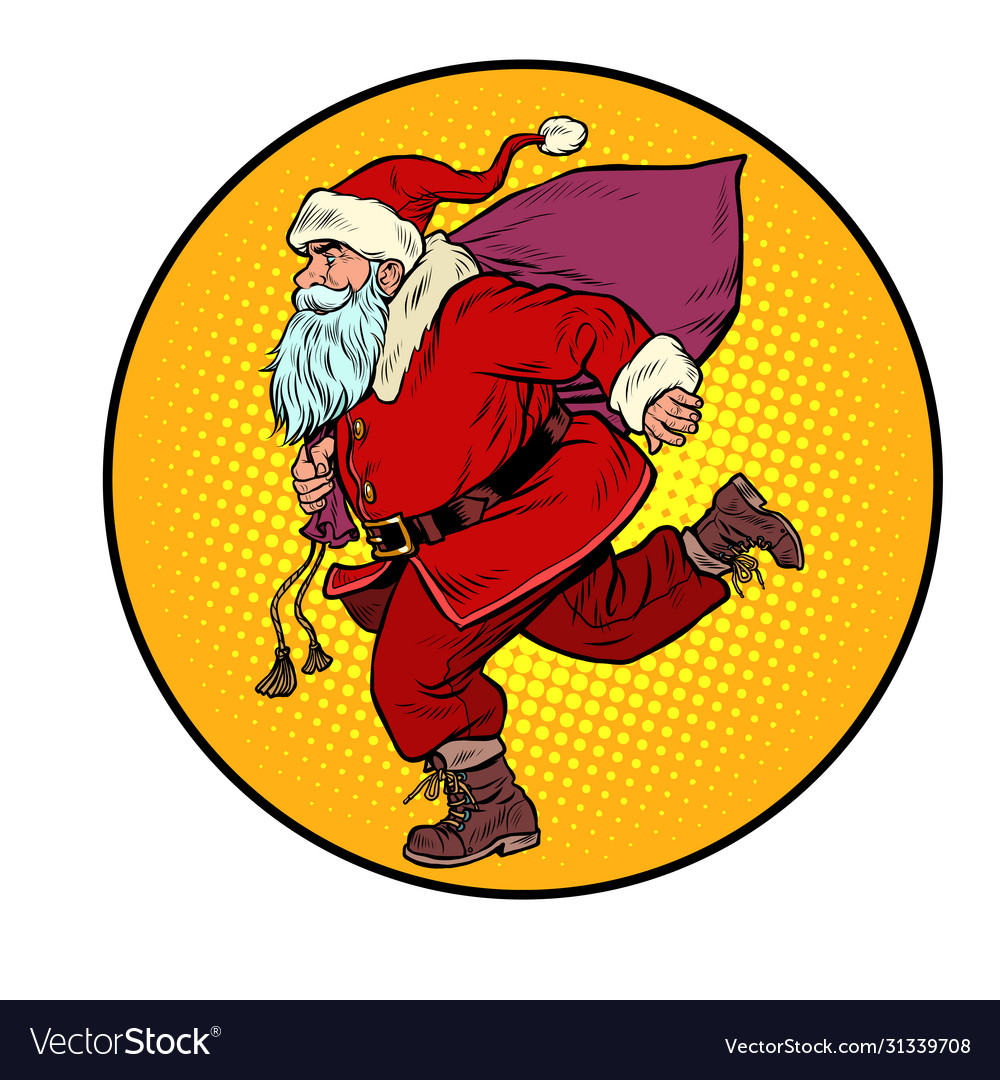 Santa claus is running new year and christmas