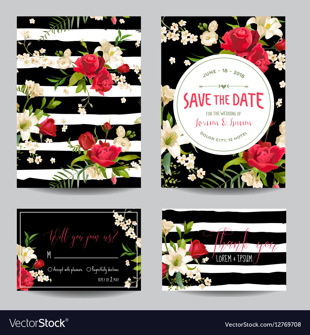 Wedding Invitation Card with Lily and Roses