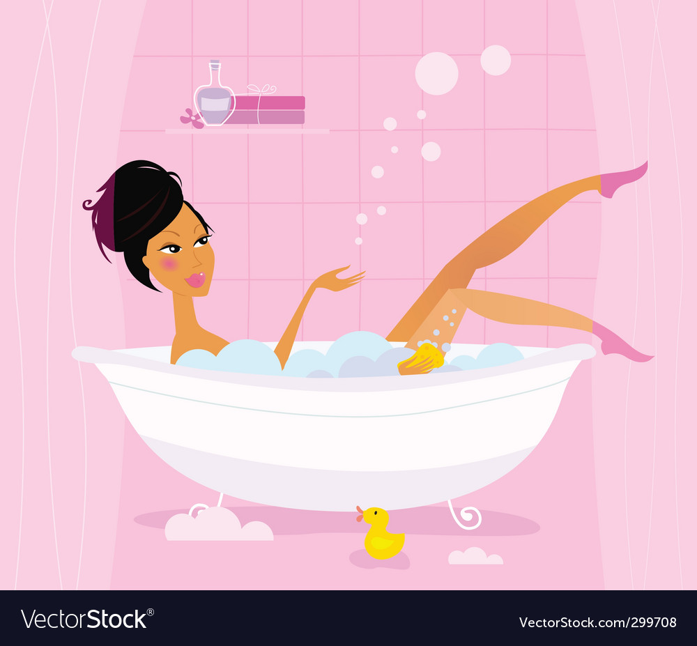Woman in retro bathtub vector image