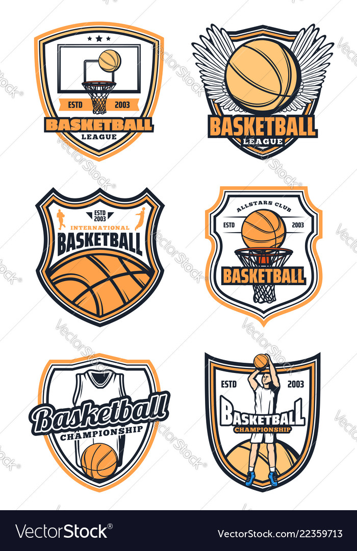 Basketball game badges and sport icons
