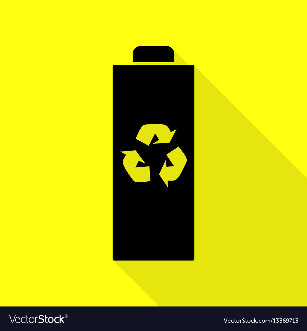 Battery recycle sign black icon with vector image