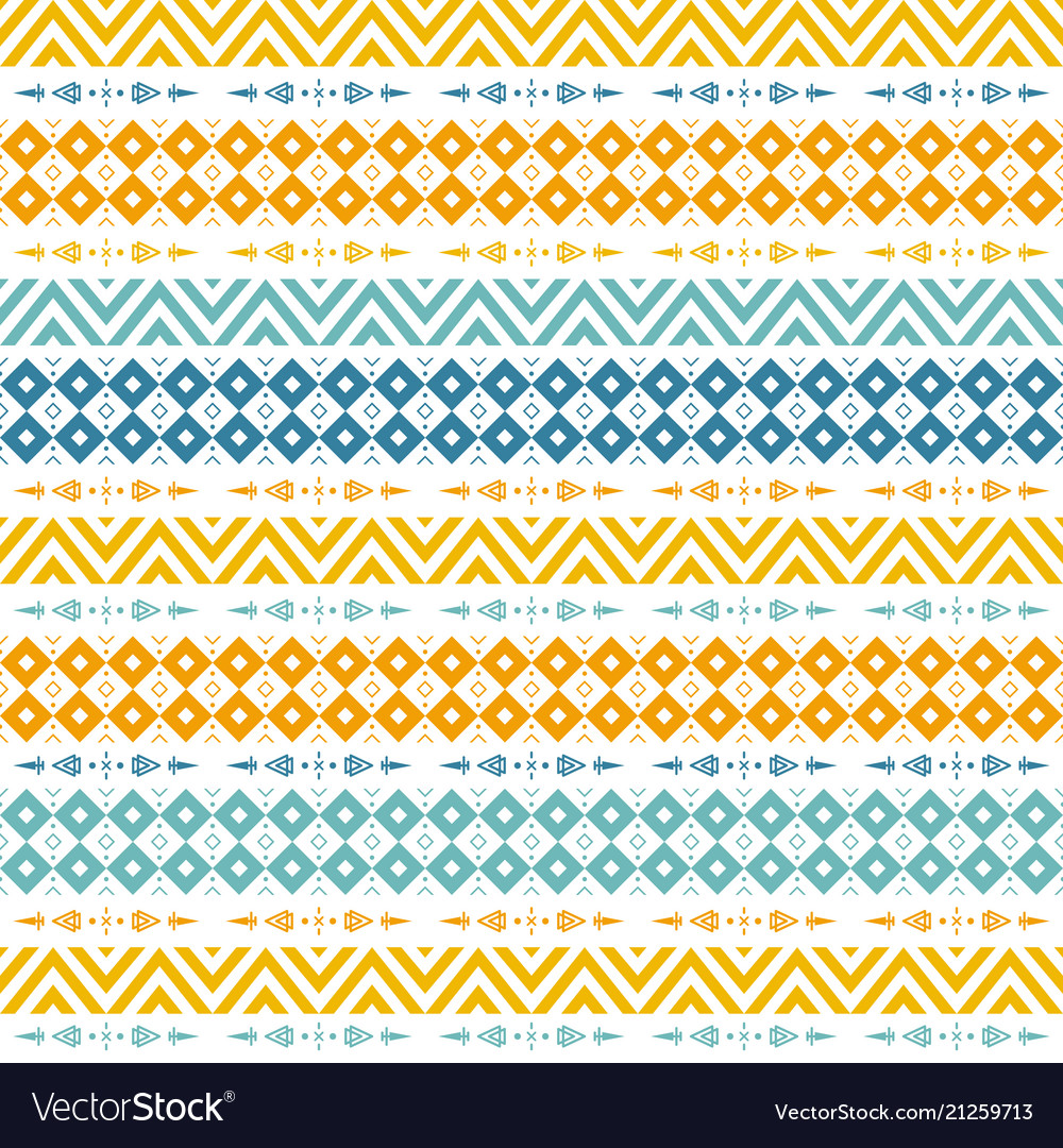 Bright seamless pattern with tribal yellow