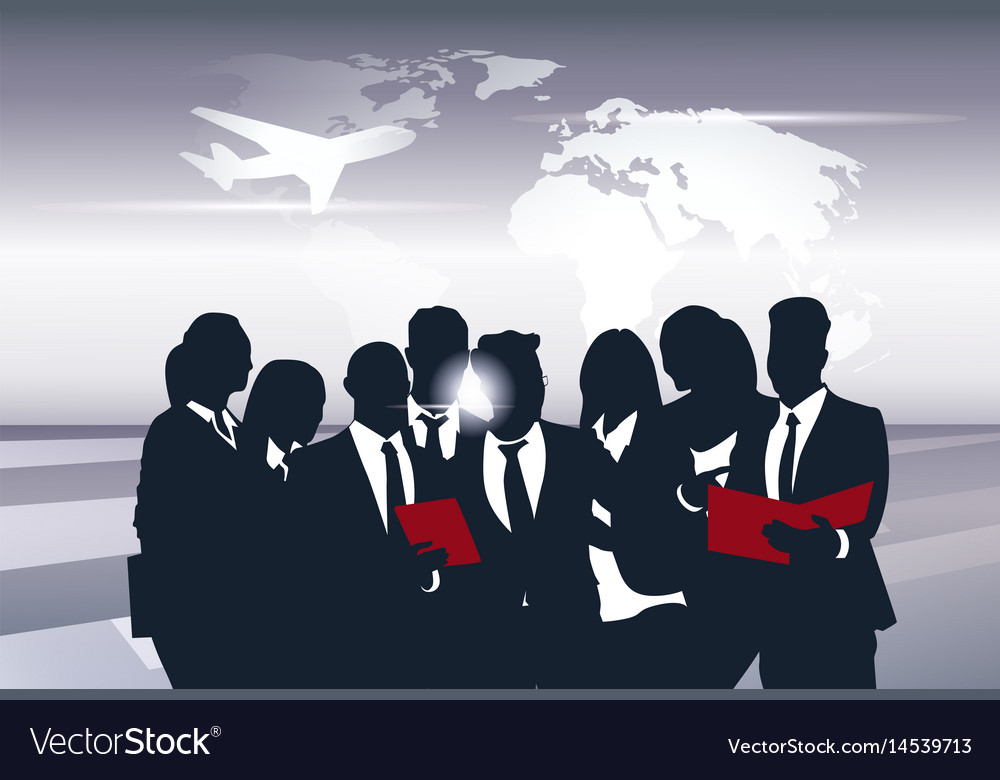 Business team silhouette businesspeople group