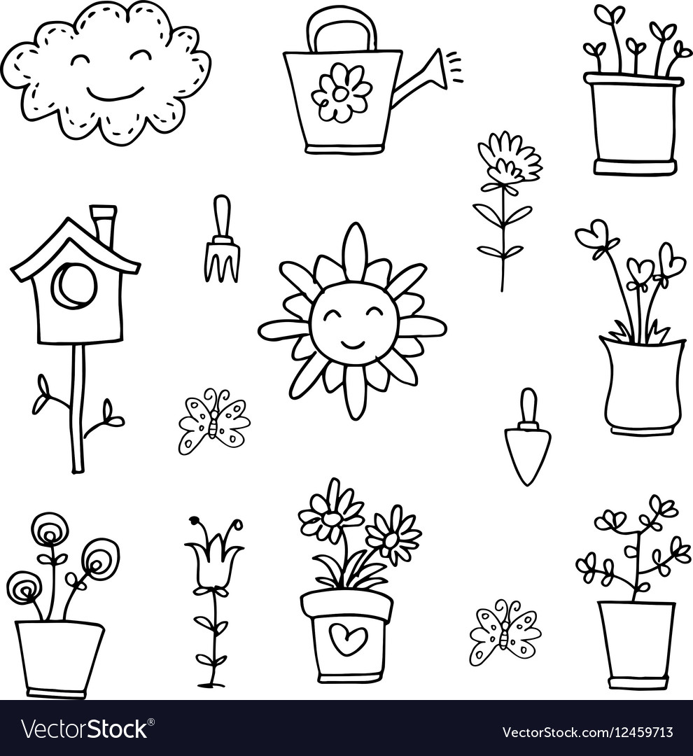 Doodle of spring flower set hand draw vector image