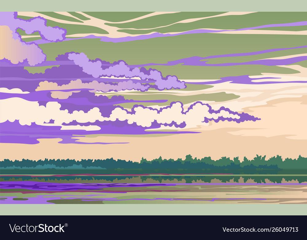 Evening landscape on river