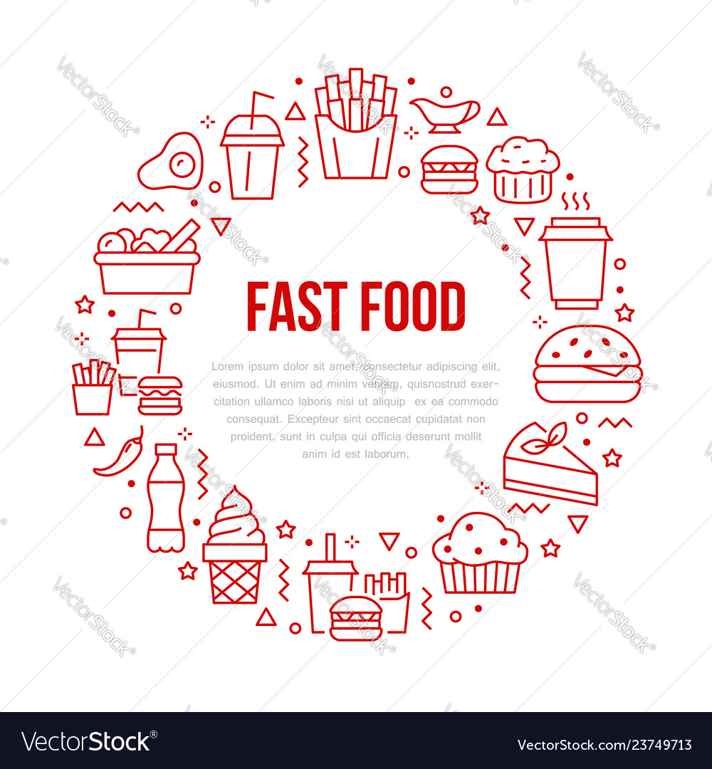 Fast food circle with flat line icons