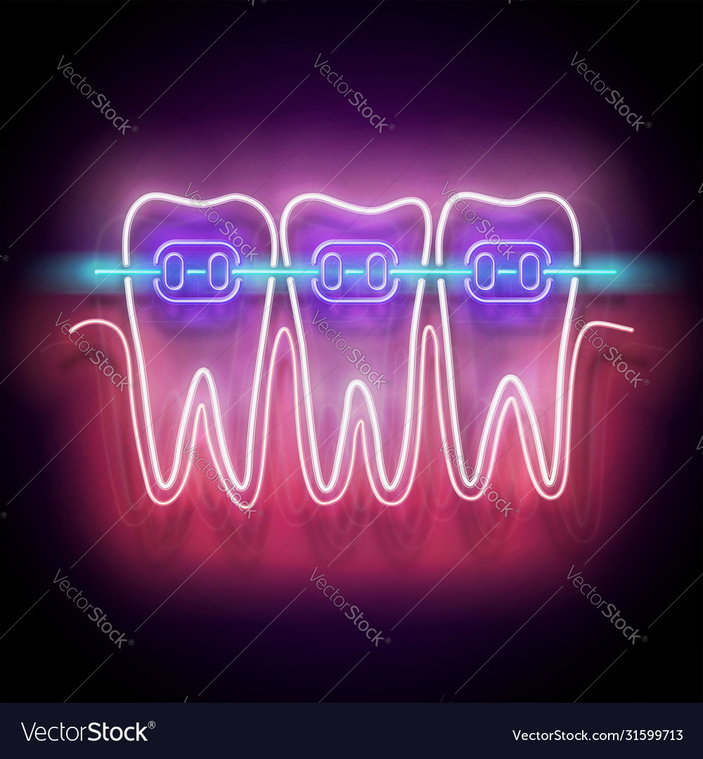 Glow dentition with white teeth and braces