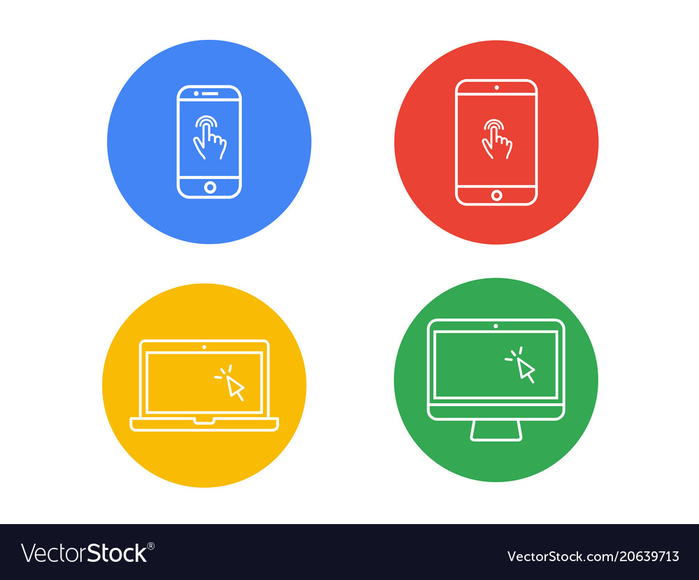 Laptop computer tablet mobile with finger vector image