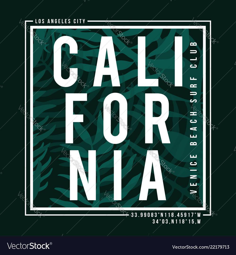 Los angeles california surf typography