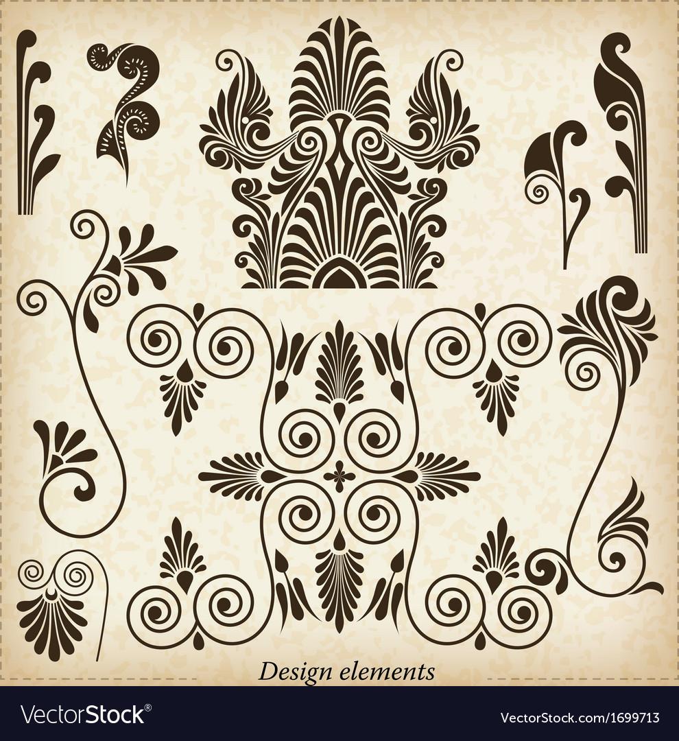 Old greek ornaments vector image
